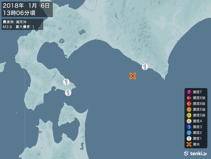 地震情報(2018年01月06日13時06分発生)