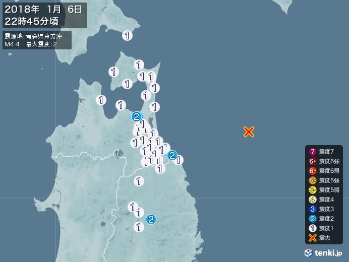 地震情報(2018年01月06日22時45分発生)