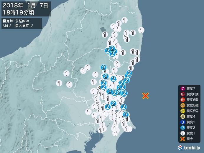 地震情報(2018年01月07日18時19分発生)