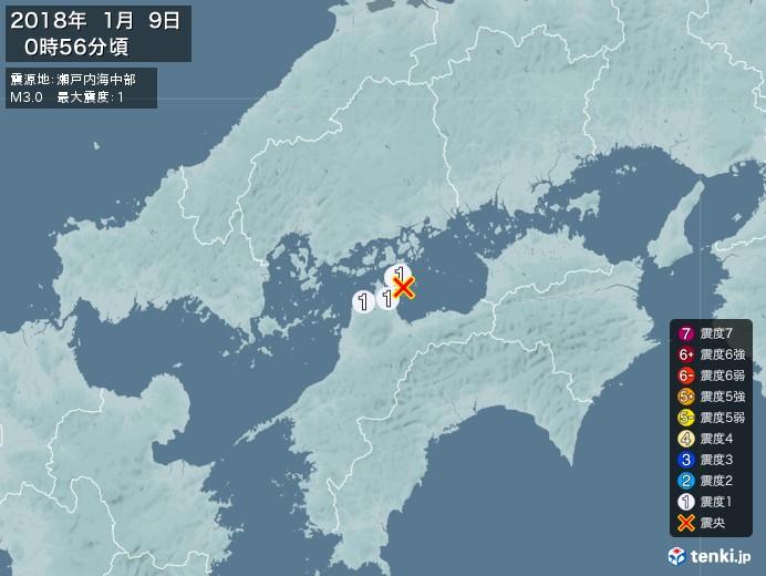 地震情報(2018年01月09日00時56分発生)