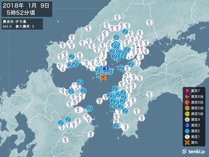 地震情報(2018年01月09日05時52分発生)