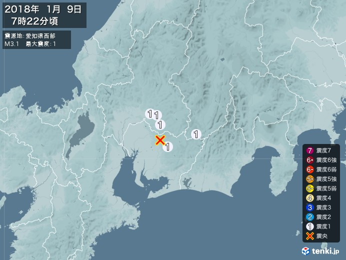 地震情報(2018年01月09日07時22分発生)