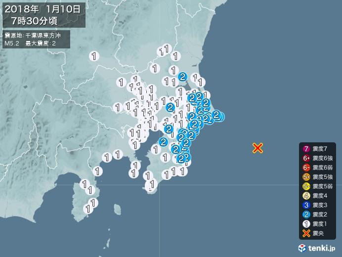 地震情報(2018年01月10日07時30分発生)