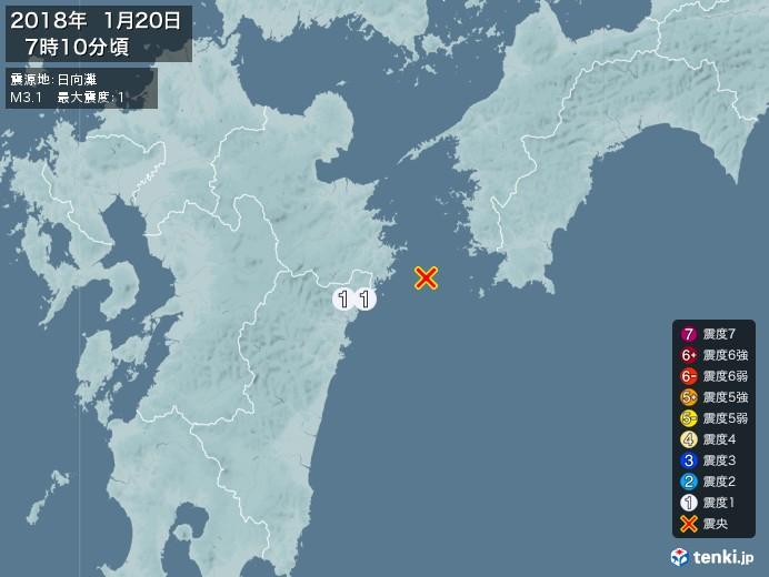地震情報(2018年01月20日07時10分発生)