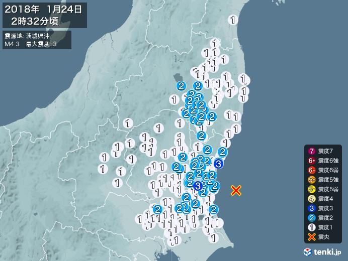 地震情報(2018年01月24日02時32分発生)