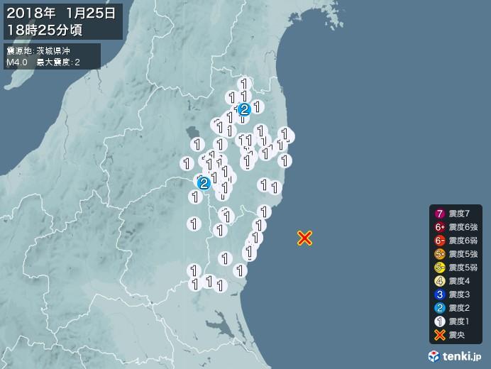地震情報(2018年01月25日18時25分発生)