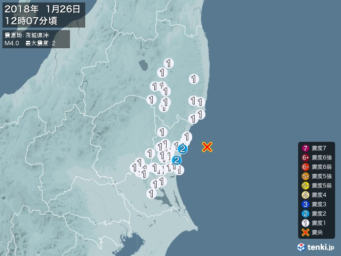 地震情報(2018年01月26日12時07分発生)