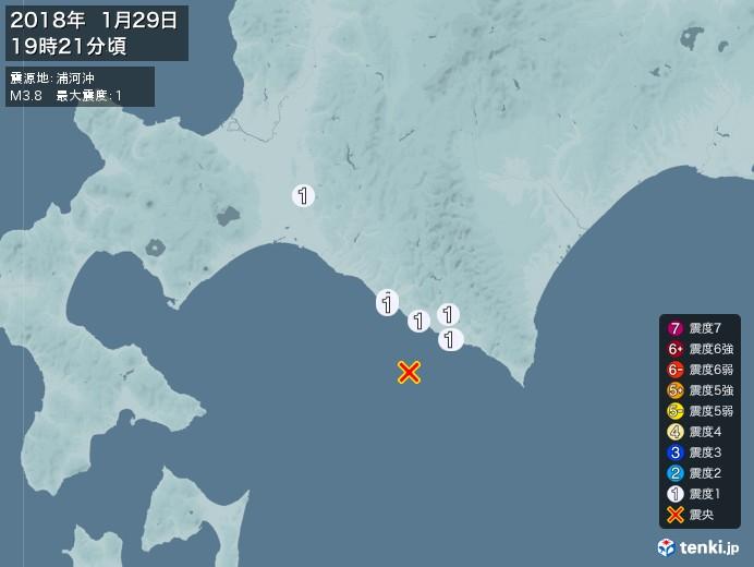 地震情報(2018年01月29日19時21分発生)