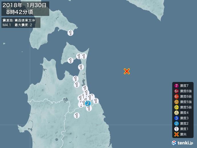 地震情報(2018年01月30日08時42分発生)