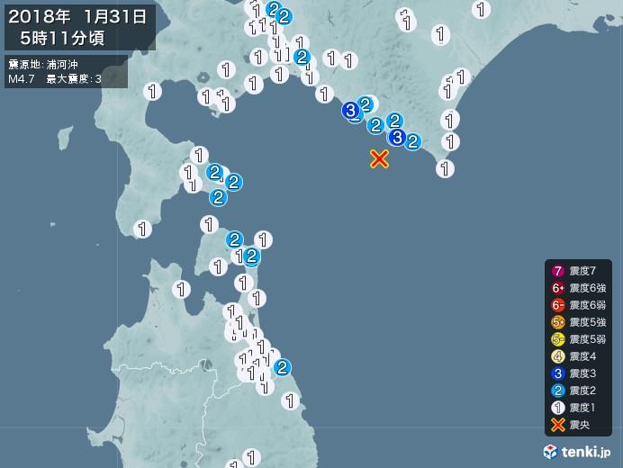 地震情報(2018年01月31日05時11分発生)