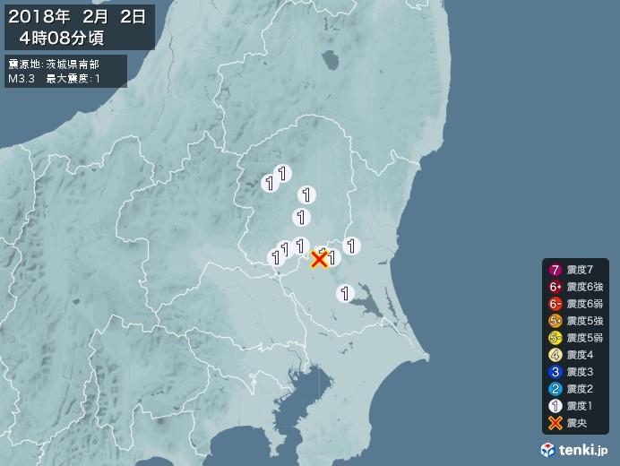 地震情報(2018年02月02日04時08分発生)