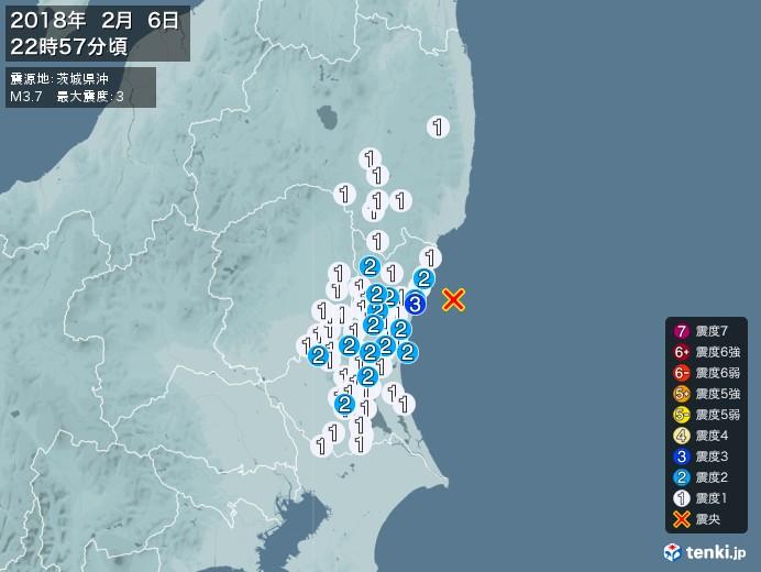 地震情報(2018年02月06日22時57分発生)