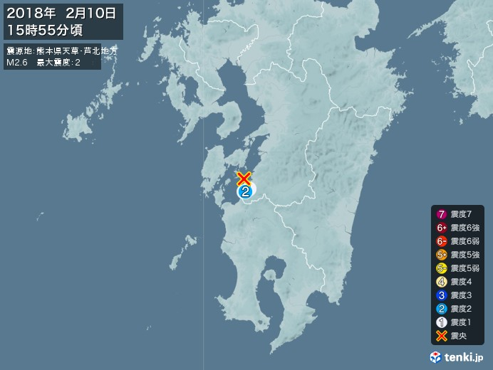 地震情報(2018年02月10日15時55分発生)