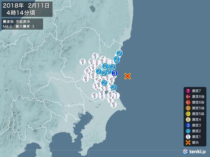 地震情報(2018年02月11日04時14分発生)