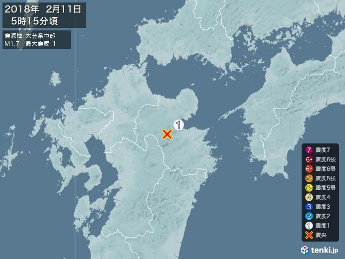 地震情報(2018年02月11日05時15分発生)