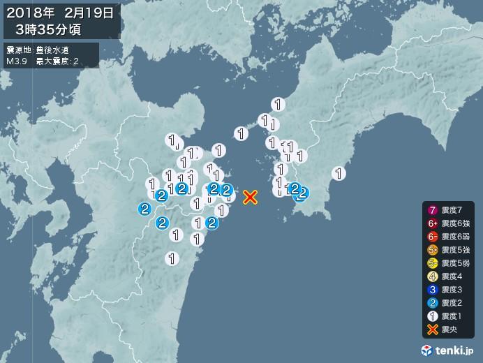 地震情報(2018年02月19日03時35分発生)