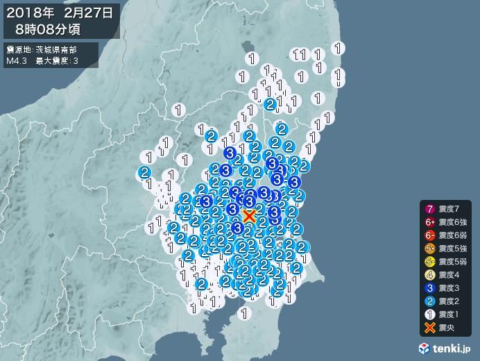 地震情報(2018年02月27日08時08分発生)