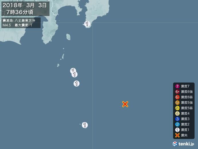 地震情報(2018年03月03日07時36分発生)
