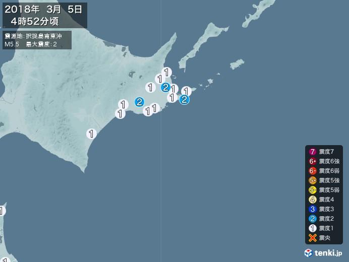地震情報(2018年03月05日04時52分発生)