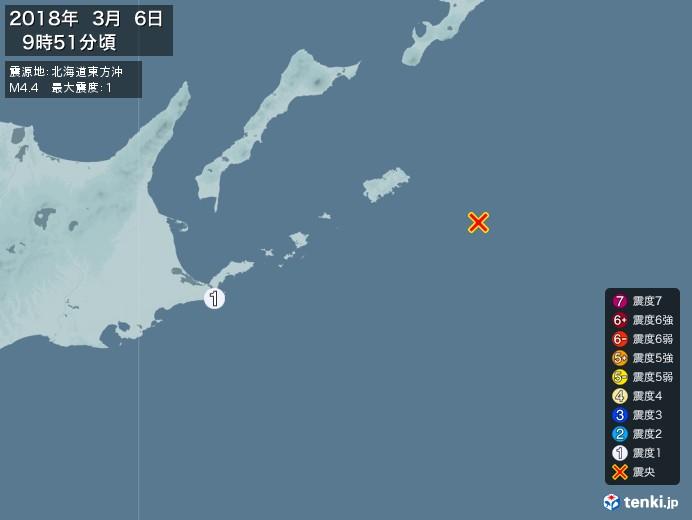 地震情報(2018年03月06日09時51分発生)
