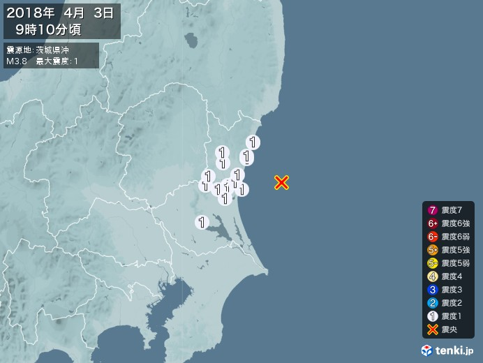 地震情報(2018年04月03日09時10分発生)
