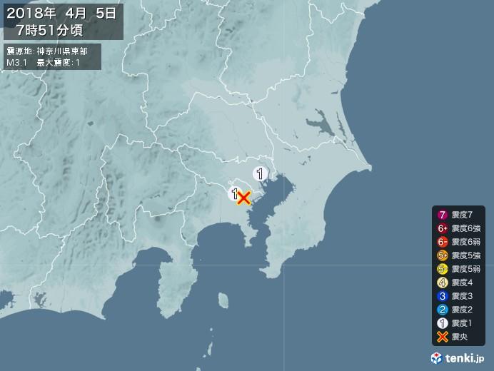 地震情報(2018年04月05日07時51分発生)