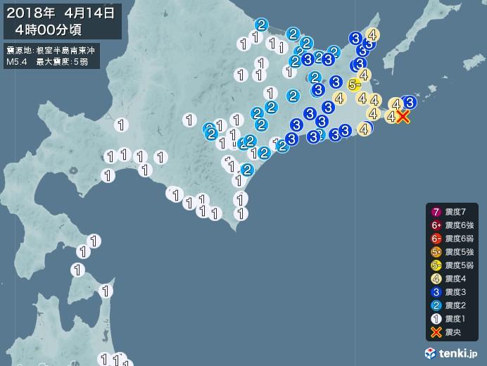 地震情報(2018年04月14日04時00分発生)
