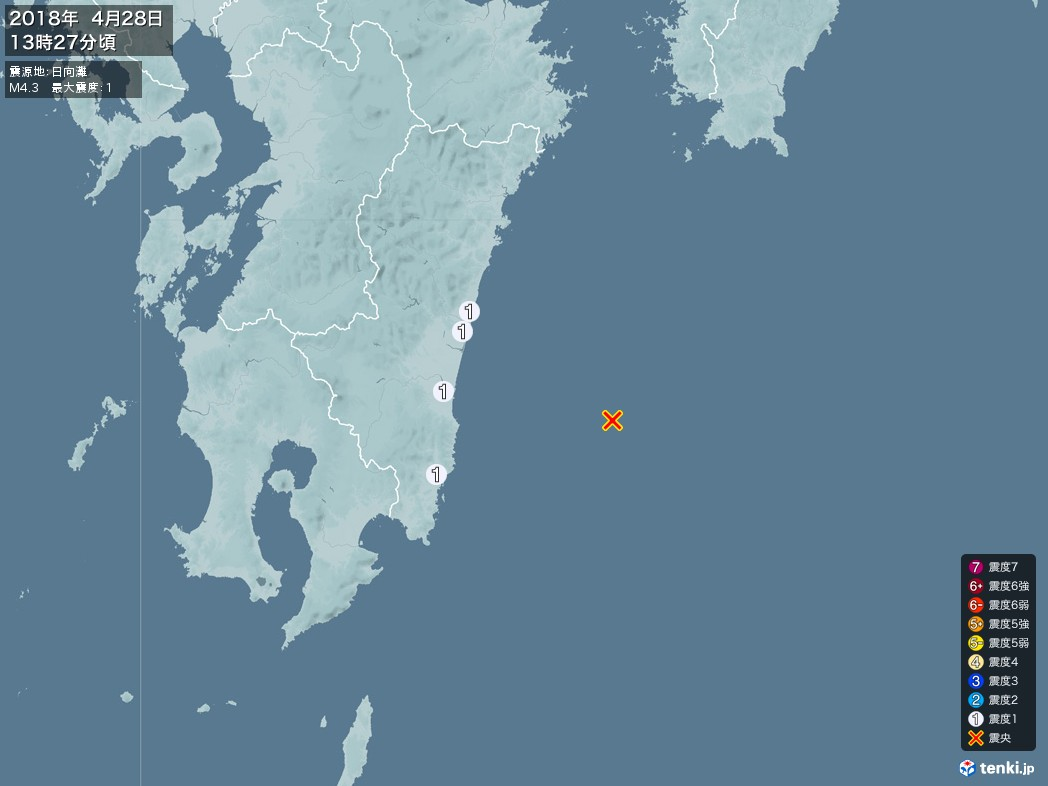 地震情報 2018年04月28日 13時27分頃発生 最大震度:1 震源地:日向灘(拡大画像)