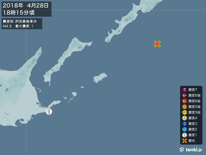 地震情報(2018年04月28日18時15分発生)