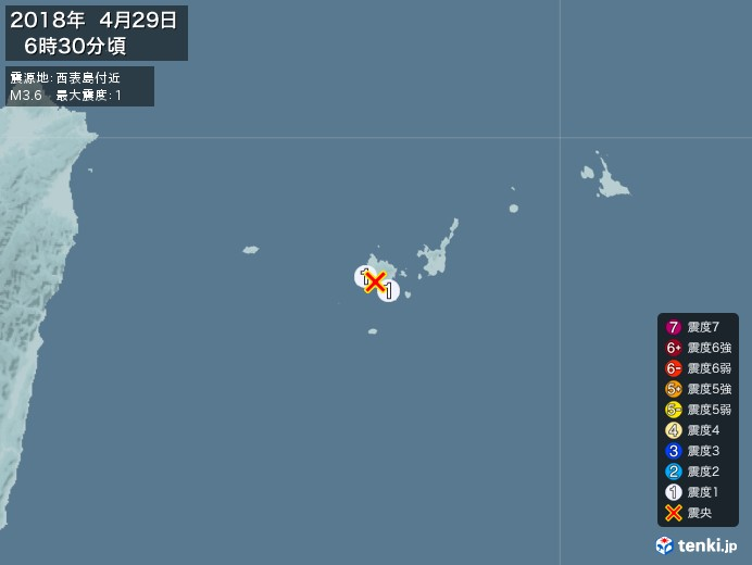 地震情報(2018年04月29日06時30分発生)