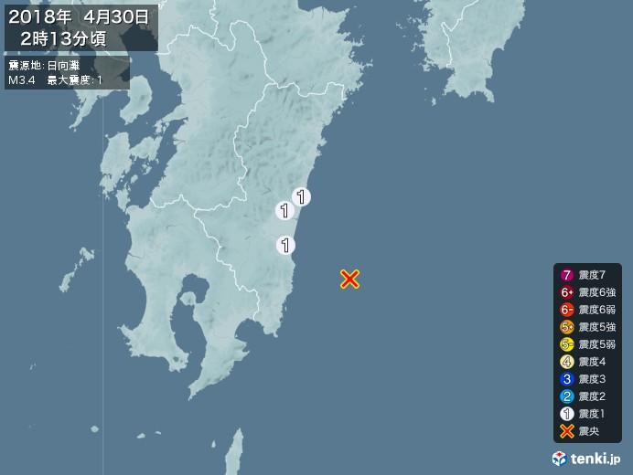 地震情報(2018年04月30日02時13分発生)