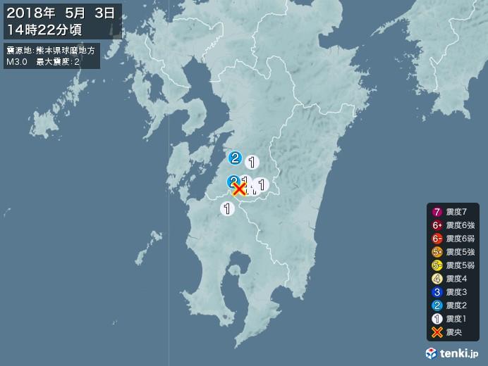 地震情報(2018年05月03日14時22分発生)