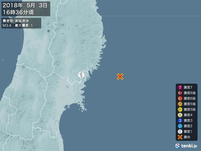 地震情報(2018年05月03日16時36分発生)