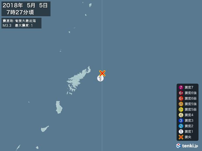 地震情報(2018年05月05日07時27分発生)