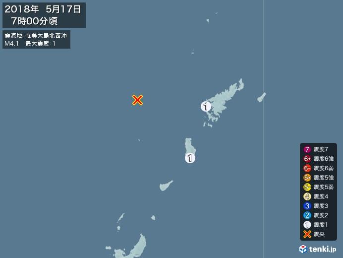 地震情報(2018年05月17日07時00分発生)