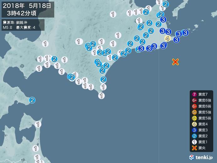 地震情報(2018年05月18日03時42分発生)