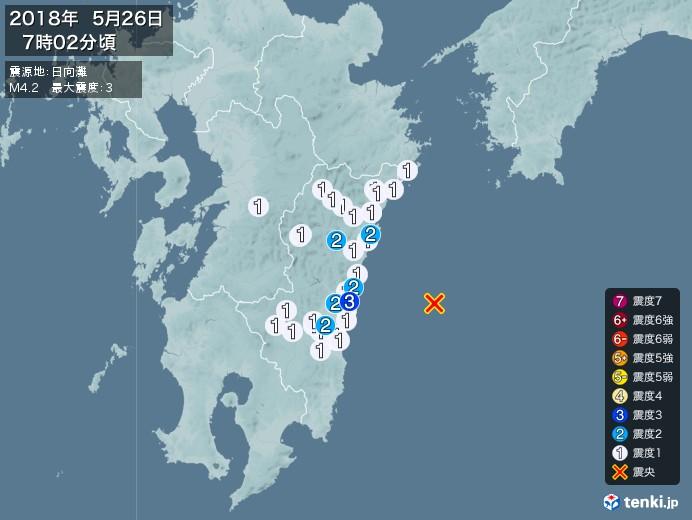 地震情報(2018年05月26日07時02分発生)