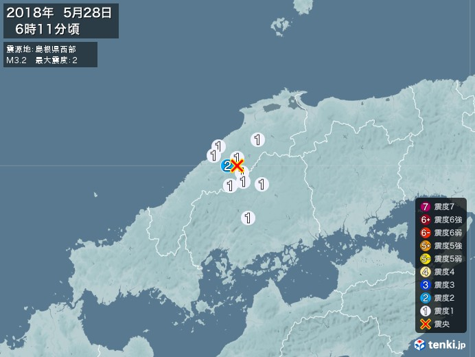 地震情報(2018年05月28日06時11分発生)