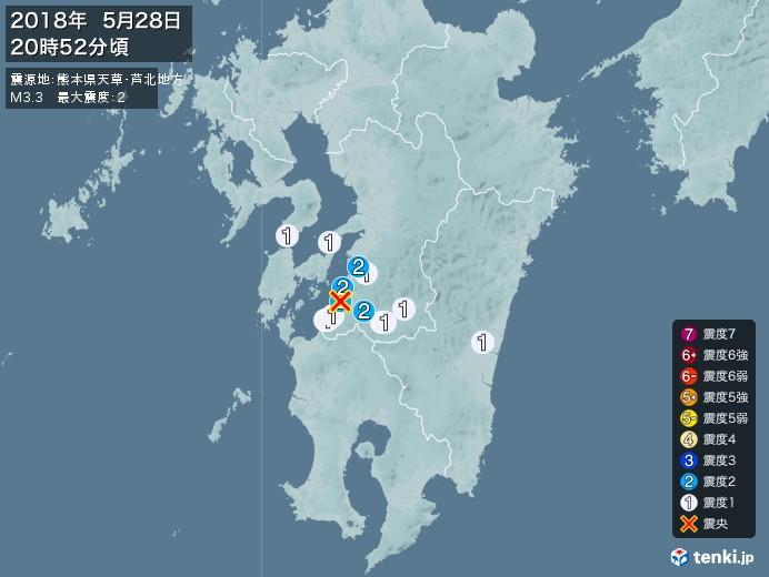 地震情報(2018年05月28日20時52分発生)
