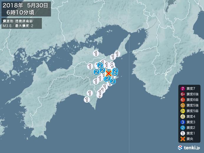 地震情報(2018年05月30日06時10分発生)