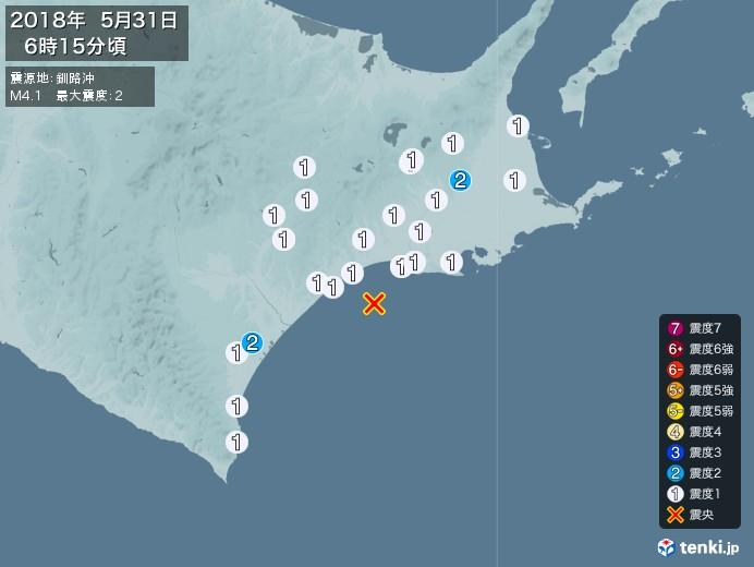 地震情報(2018年05月31日06時15分発生)