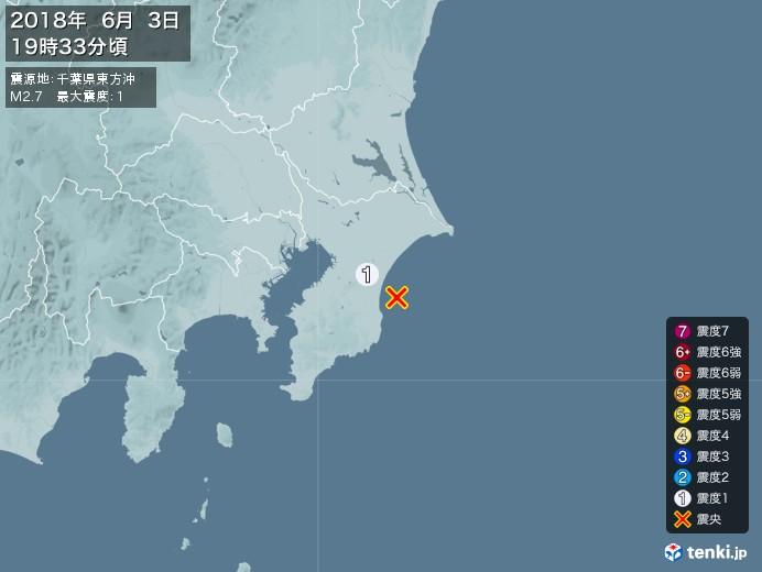 地震情報(2018年06月03日19時33分発生)