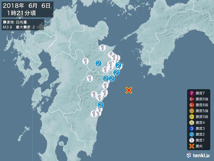 地震情報(2018年06月06日01時21分発生)