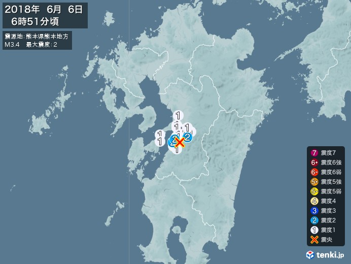 地震情報(2018年06月06日06時51分発生)