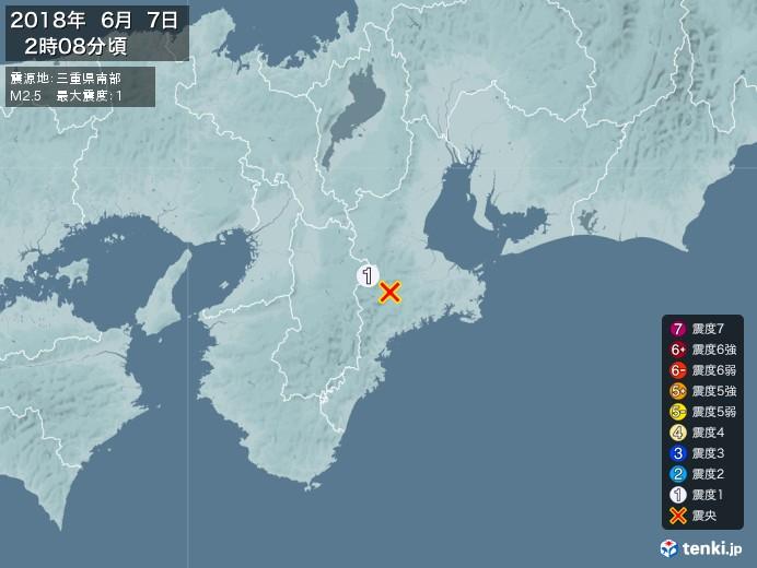地震情報(2018年06月07日02時08分発生)