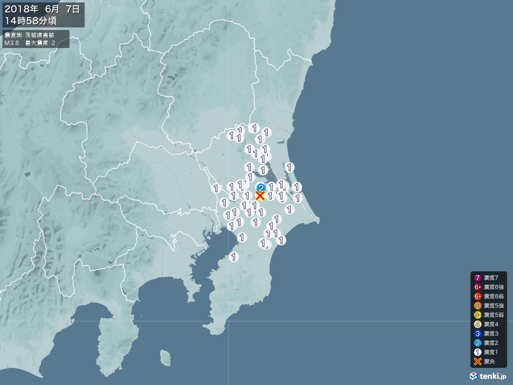 地震情報 2018年06月07日 14時58分頃発生 最大震度:2 震源地:茨城県南部(拡大画像)
