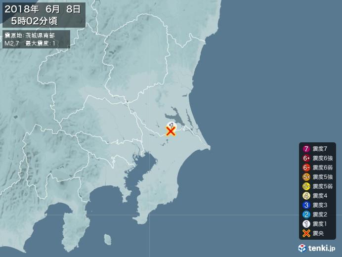 地震情報(2018年06月08日05時02分発生)