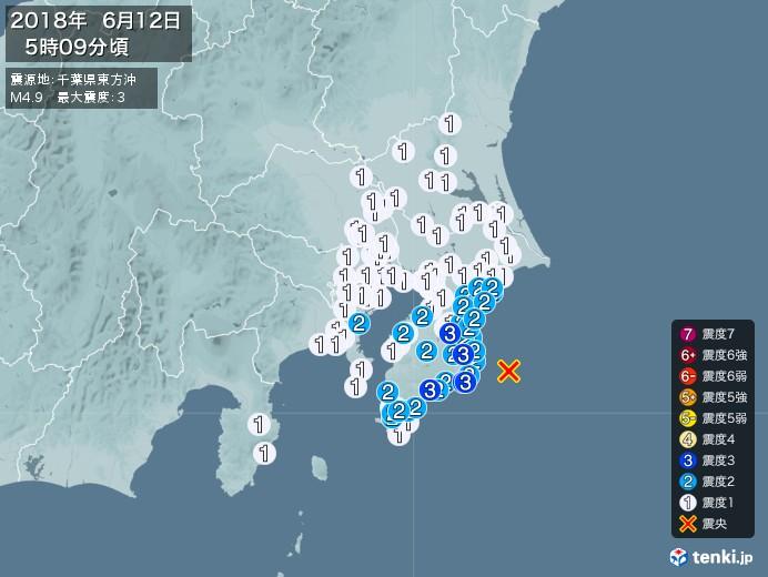 地震情報(2018年06月12日05時09分発生)