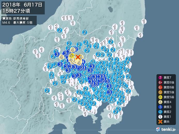 地震情報(2018年06月17日15時27分発生)