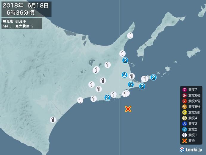 地震情報(2018年06月18日06時36分発生)